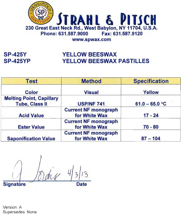 SP-425Y YEL. BEESWAX
